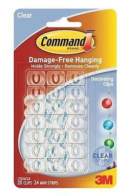 20 x 3M COMMAND DECORATING CLIPS HOOKS WITH CLEAR STRIPS DAMAGE FREE