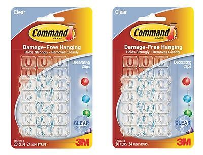 40 x 3M COMMAND DECORATING CLIPS HOOKS WITH CLEAR STRIPS DAMAGE FREE