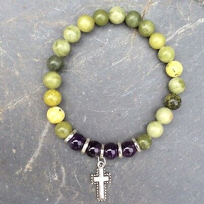 Irish Connemara Marble Bracelet. Claddagh, Cross,Celtic ,Shamrock Charm Jewelry