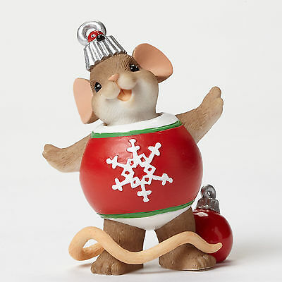 Charming Tails Mouse in Ornament Figure Enesco 4046945 Christmas NEW