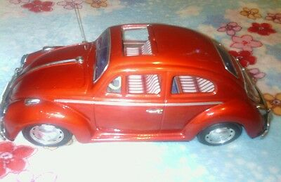 BANDAI Japanese Antique Vintage Classic Retro RED VW VOLKSWAGEN Beetle Tin Toy
