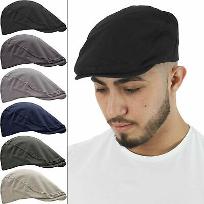 Mens Plain Black Brushed Cotton Classic Gatsby Flat Cap Cabbie Baker Boy Newsboy