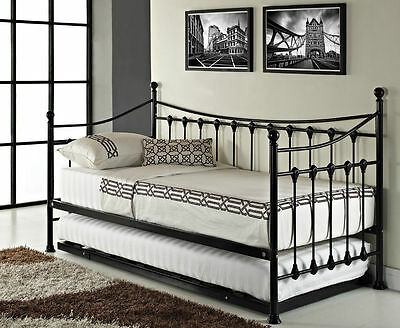 French Day Bed Versailles Trundle Vintage Metal Frame Black Ivory Foam Mattress