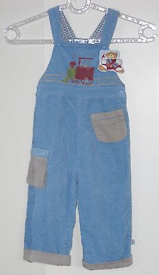 New KALOO Boys Size 23 Months Blue Fully-Lined Corduroy Overalls