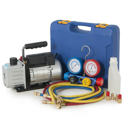HVAC A/C 4CFM 1/3HP Vacuum Pump Air Condition with 4 Way Manifold Gauge w/ Case