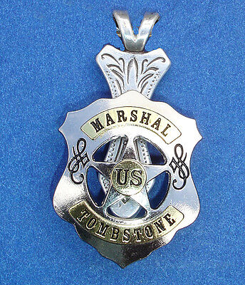 Western Jewelry Antique Silver/Gold Marshal Tombstone Concho Pendant Kit