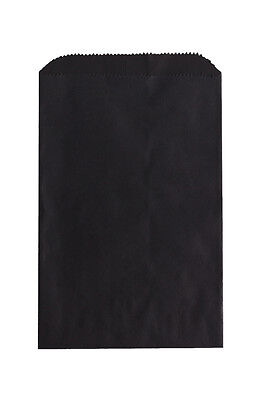 100 Black Paper Bags 6.25 x 9.25 Inches, Flat Pinch Bottom; Embellish Favors ETC