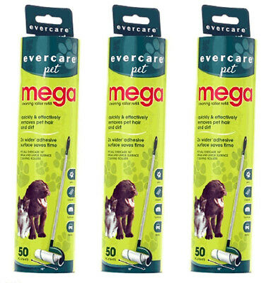 Evercare Large Surface Mega Pet Hair Remover Roller Refill, 50 Sheets 3 Pack