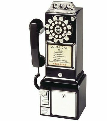 Retro 1950's Classic Pay Phone Wall Mounted Corded BLACK Payphone CR56