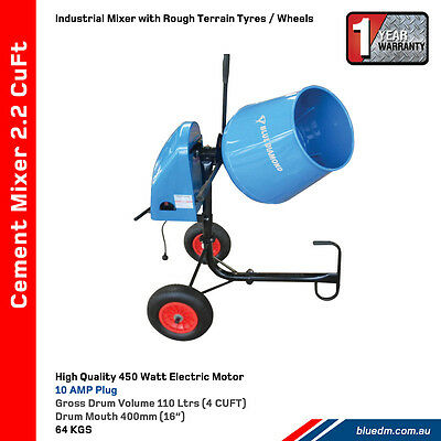 Electric Cement / Concrete Mixer 2.2 Cuft 3.5 Hp *free Delivery*