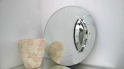 Contemporary Engraved Round Wall Mirror 60x60cm Stylish Stud Design New