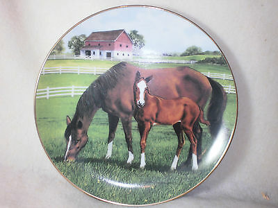 "Danbury Mint ""morning On The Farm""jockey Club Mare And Foal By Patterson Plate"