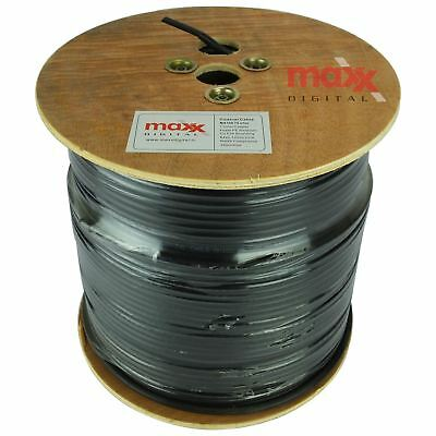 Maxx Digital MX100 Pure Copper Coaxial Cable Satellite Aerial TV 250m Drum Black