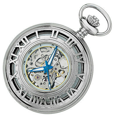 Gotham Men's Silver-Tone Mechanical Half-Hunter Pocket Watch with Chain