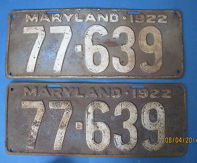 1922 Maryland License Plates matched pair