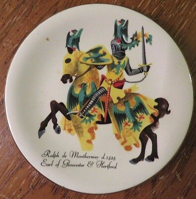 """4.5"""" Collectible Plate Gold Trim Knights at Battle Story on Back INTERESTING"""