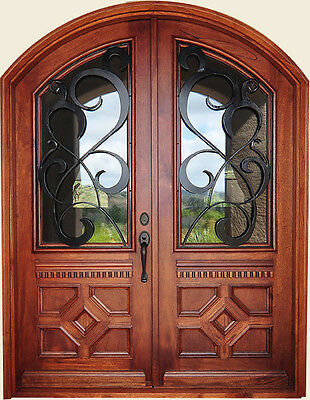 "Hand-Carved Solid Wood & 12 Gauge Wrought Iron Entry Doors 72"" X 96"""