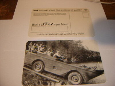 Original Wwii Ford Motor Seep Amb Jeep Officer Testing   Postcard
