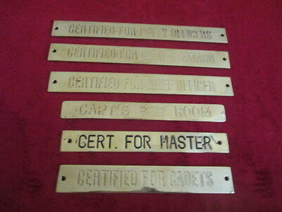 Vintage Marine Ship/ferry/tug Boat Deck Related Brass Plaque And Sign 6 Pc