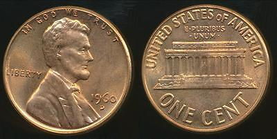 United States, 1960-D One Cent, Lincoln Memorial (Large Date) - Uncirculated