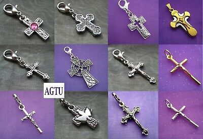 YOU PICK CROSS Clip On Silver Small Cross Crucifix Jesus Charm Pendant Earrings