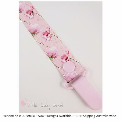 Baby Pink Flowers Hand Made Dummy/Pacifier Clip/ Chain