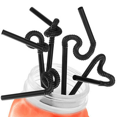 """100PCS 10.2"""" 26cm BLACK COCKTAIL SMOOTHIE BENDY DRINK DRINKING STRAW PARTY"""