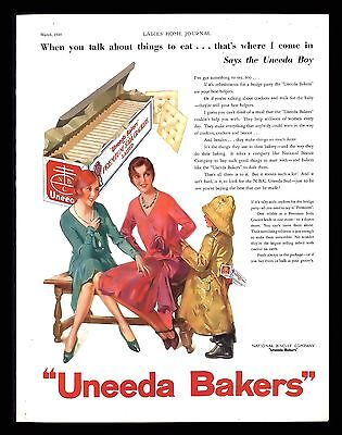 Vintage 1930 Uneeda Bakers Soda Crackers Vintage Advertising Art Print Ad