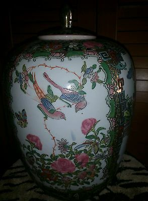ANTIQUE 19C CHINESE Hand Painted Famille Rose VASE WITH STAND 4 CHARACTERS 13x7""