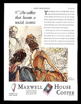 Antique 1930 Maxwell House Coffee Good to Last Drop  Vintage Print Ad