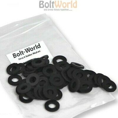 M6 / 6mm FLAT FORM A BLACK THICK NEOPRENE COMMERCIAL GRADE RUBBER WASHER WASHERS