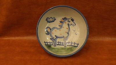 """8"""" Vegetable Serving Bowl Horse Farm Scene by M.A. Hadley Pottery"""