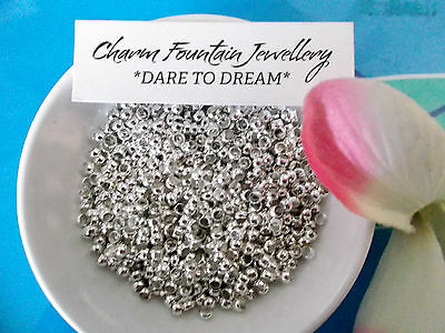 JEWELLERY FINDING MAKING BEAD CRIMPS X1000 SILVERPLATED 3mm MEMORYWIRE ETC (MW25