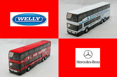 Welly 1:64 DIECAST Mercedes-Benz MB O 404 DD Bus White / Red Model COLLECTION