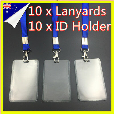 10 Clear Plastic Neck Lanyard Name ID Bus Badge Card Holder For Key USB Flash