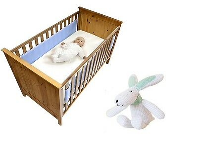 Safe Dreams 2 Sided Cot Wrap & Hoppy Cot Toy Combo - Blue