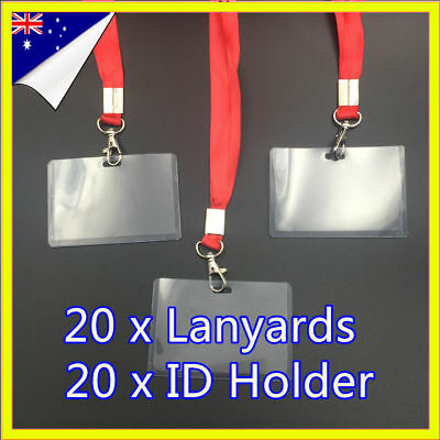 20 A1 Clear Plastic Neck Lanyard Name ID Bus Badge Card Holder For Key USB Flash