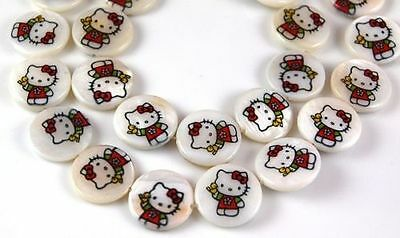 """Lot 22 pcs Hello Kitty Mother Of Pearl Disc Beads 16"""""""