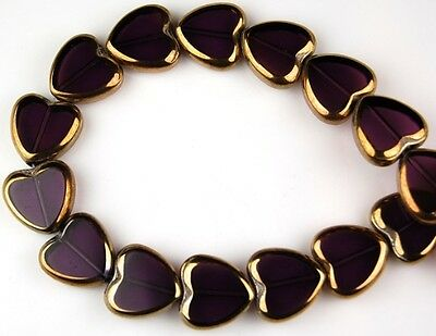 24 PCS Heart Amethyst Gold Faceted Loose Glass Beads Jewelry Craft Spacer 14mm