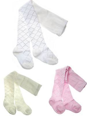 Baby girls Tights Diamond Pattern Silky Christening Party 0-24 months Pink White
