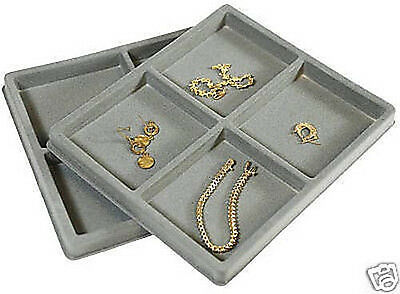 2-4 Compartment Gray Insert Tray Showcase Display