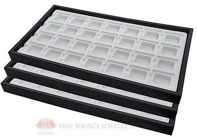 (3) Black Plastic Stackable Trays w/28 Compartments White Jewelry Display Insert