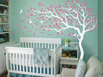 Nursery tree Wall Decals White Wall stickers Large tree Mural tattoo KR047