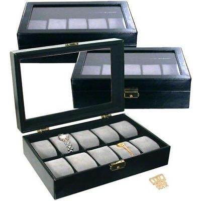3 - 10 Watch Display Cases Travel Glass Top Black