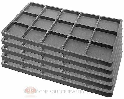 5 Gray Insert Tray Liners W/ 15 Compartments Drawer Organizer Jewelry Displays