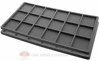 2 Gray Insert Tray Liners W/ 18 Compartments Drawer Organizer Jewelry Displays