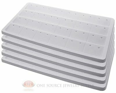 5 White Insert Tray Liners W/ 24 Compartment Earrings Organizer Jewelry Display