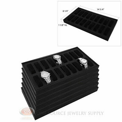 (6) Black Wooden Display Storage Watch Trays  w/ 18 Removable Holders