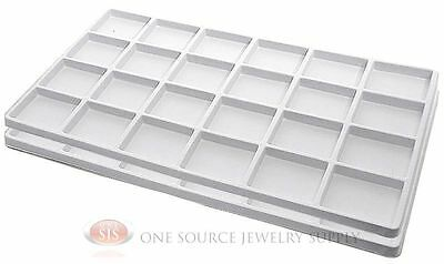 2 White Insert Tray Liners W/ 24 Compartments Drawer Organizer Jewelry Displays