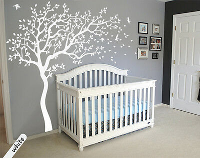 White tree wall decals Large tree Nursery decoration Nursery wall tattoo 090